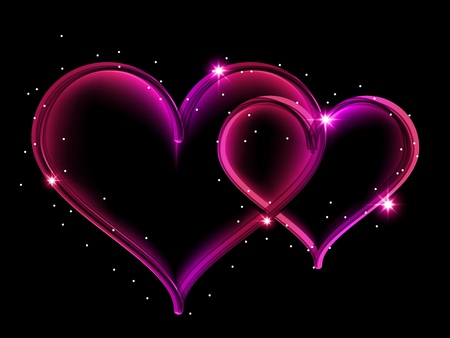 translucent: Vector picture with two shining hearts on black background