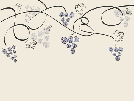 Vector vintage background with grapes and space for your text Vector