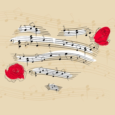 Vector picture with music heart and roses Stock Vector - 8786405