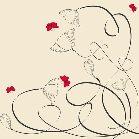 Vector calligraphic greeting card with poppy and butterflies Vector