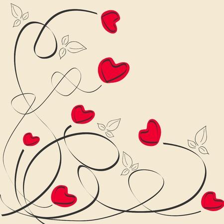 Tarjeta de felicitación caligráfico de vector con corazones rojos