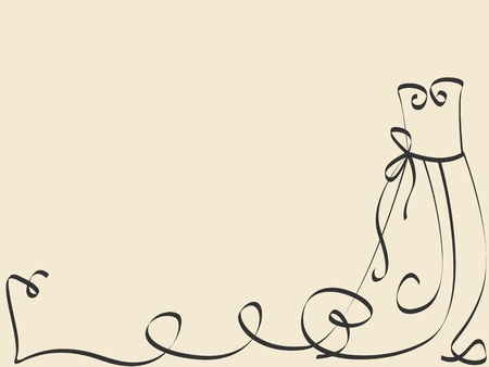 Vector picture with calligraphic dress and space for your text Vector