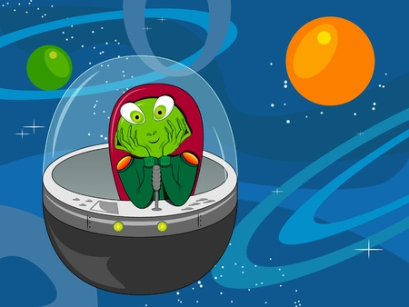 picture with dreaming alien in the spaceship Vector
