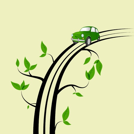 picture with tree branches and a car Vector