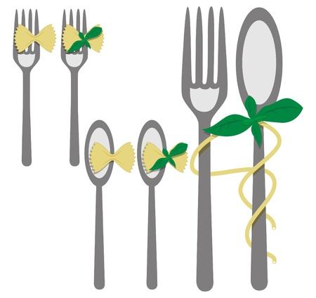 basil herb: imagen con elementos de men�: tenedor, cuchara, pasta, Basilio Vectores