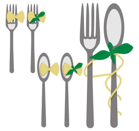 picture with elements for menu: fork, spoon, pasta, basil Stock Vector - 8887290