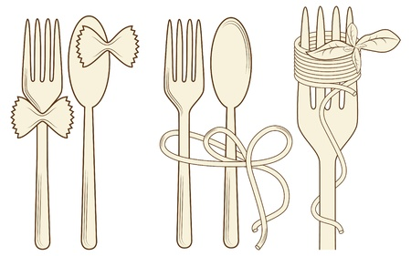 picture with elements for menu: fork, spoon, pasta, basil Vector