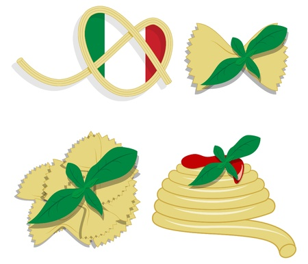 picture with elements for menu: fork, spoon, pasta, basil