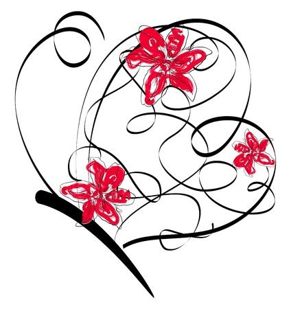 Bild mit abstrakten Schmetterling und Blumen
