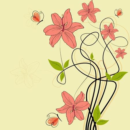 lilia: im�genes con Rosa lilia flores y mariposas Vectores