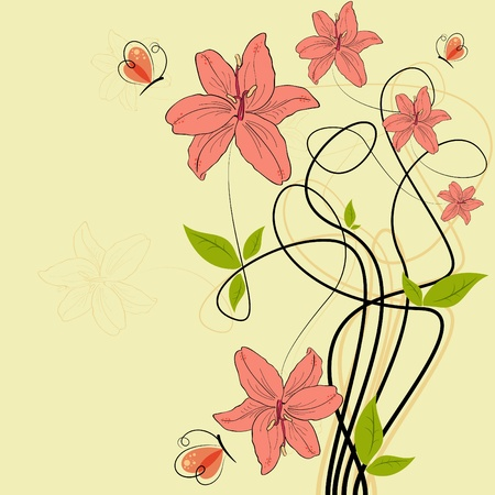 pictures with pink lilia flowers and butterflies Vector