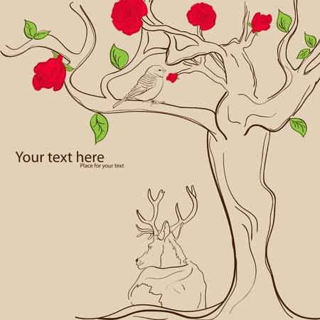 picture with tree, bird and deer Vector