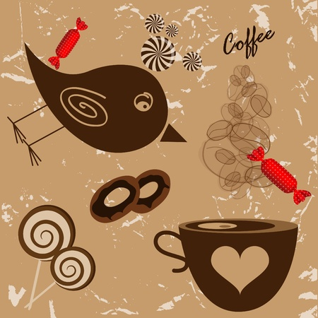 picture with bird, coffee cup and candies Vector