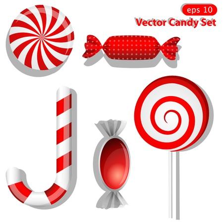 sugarplum: set with different red candies Illustration