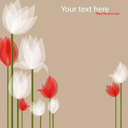 image avec des tulipes rouges et blancs sur fond noir Vecteurs