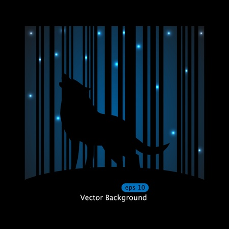 barking: Immagine vettoriale su lupo abbaiare sulla Luna su sfondo blu a strisce Vettoriali