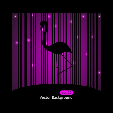 Vector picture of silhouette of flamingo on purple background Stock Vector - 8986775