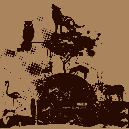 Vector grunge picture with animals and birds Vector