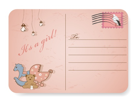 stamp for baby girl with stork Vector