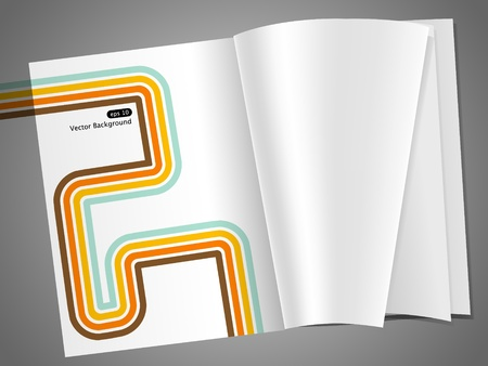 empty magazine pages with retro stripes Vector