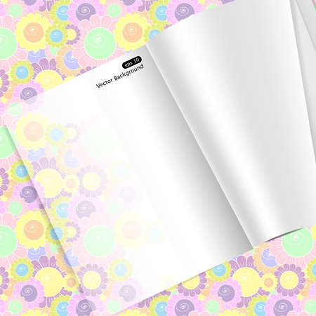 empty magazine pages on floral background Vector