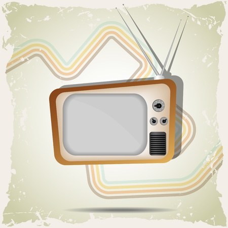 grunge background with retro tv Vector