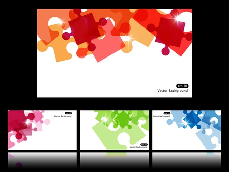 Set with four vector backgrounds with puzzle