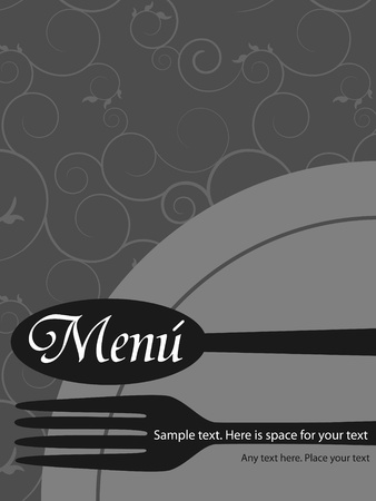 Vector menu pattern with spoon and fork on grey background Stock Vector - 9183119