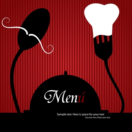 menu: Vector menu pattern with spoon and fork on red background Illustration