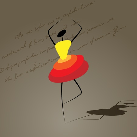 Vector picture with silhouette of dancing girl Vector