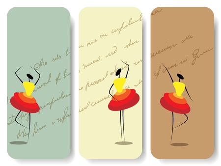 Vector set of backgrounds with silhouette of dancing girls Vector