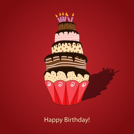 Vector picture with birthday cake Illustration