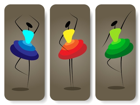set of backgrounds with silhouette of dancing girls Vector