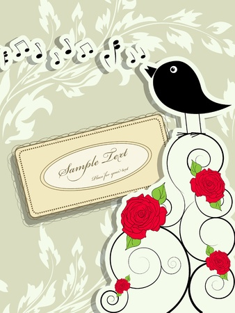 abstract melody: picture with cute singing bird and vintage frame Illustration