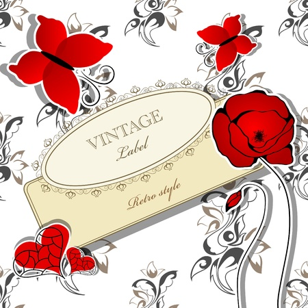 picture with flowers and red butterflies Vector