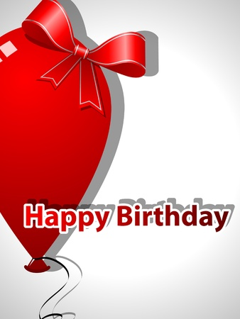 Picture with red balloon and bow, Template for Birthday greeting card Vector
