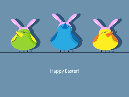 creative egg painting: Easter greeting card with bird in rabbit ear hats
