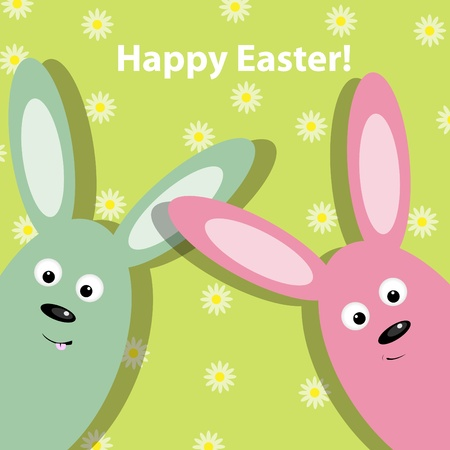 Easter greeting card with 2 funny rabbits Vector