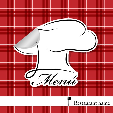 paper hats: Vector menu pattern with chef hat sticker on  red background