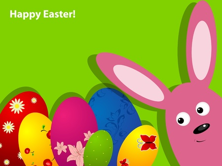 Vector Easter greeting card with rabbit and eggs Vector