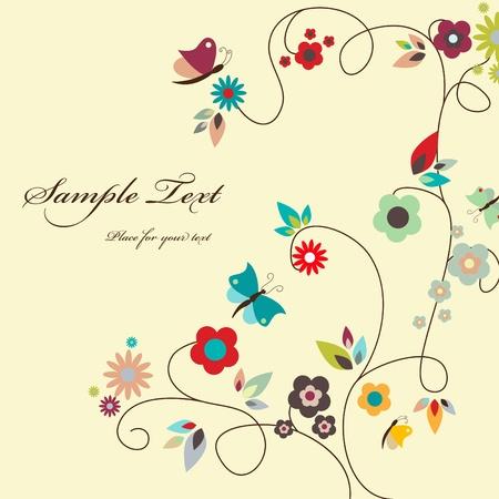 Tarjeta de felicitación floral vectorial Foto de archivo - 9297319