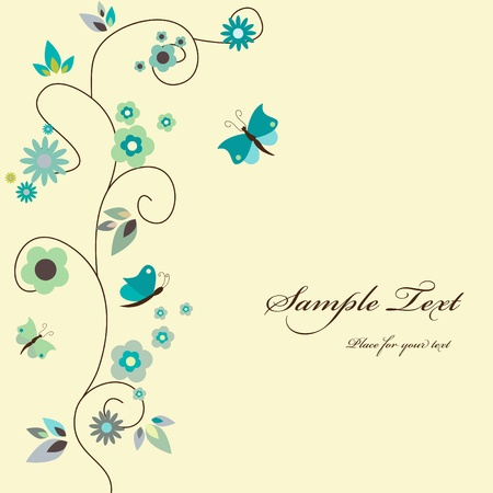 Vector blue floral greeting card Stock Vector - 9297317