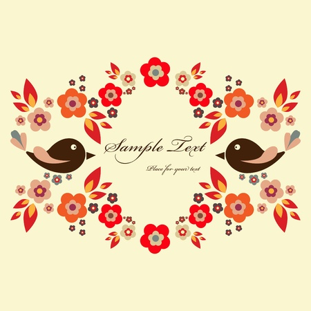 Vector red floral frame with birds Vector