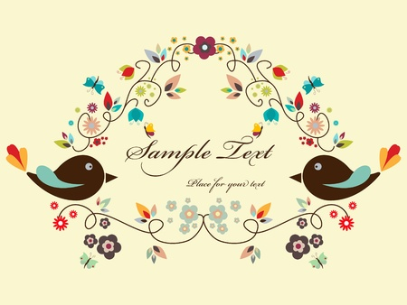 Vector floral frame with birds Vector