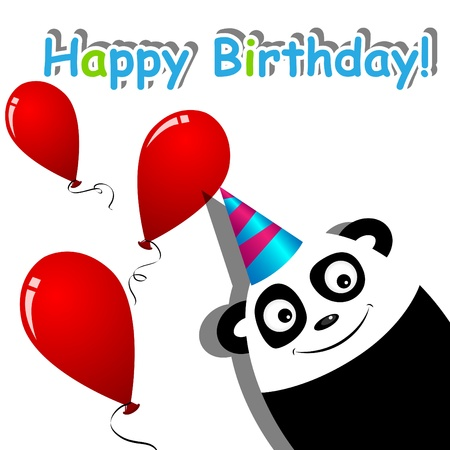 greeting card with a panda Stock Vector - 9348258
