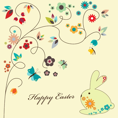 floral greeting card for Easter Vector