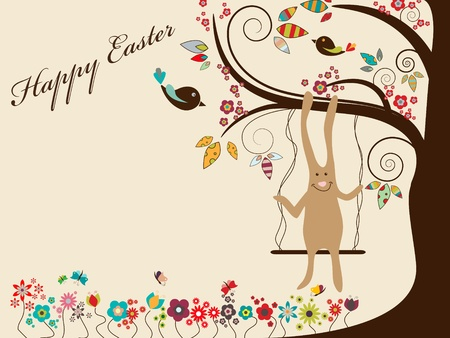 Easter greeting card with rabbit on swings Stock Vector - 9348266