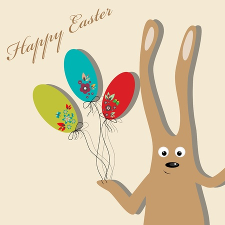 Easter greeting card with rabbit and eggs Stock Vector - 9348260