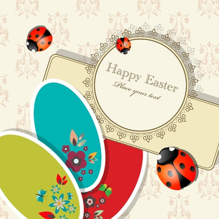Easter greeting card with eggs and ladybugs Vector