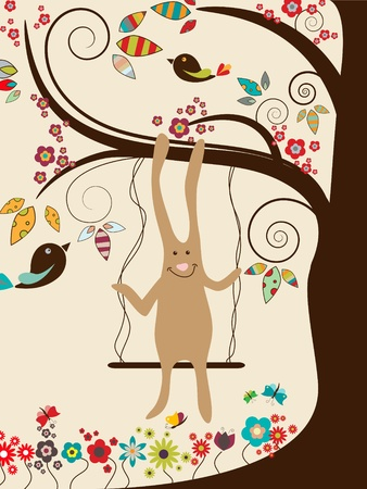 Easter greeting card with rabbit on swings Vector